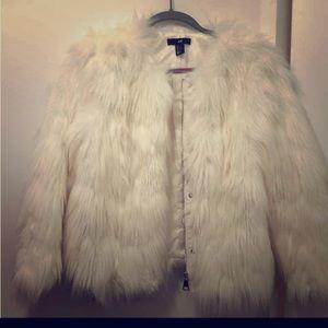 H & M faux fur egg shell jacket BNWT